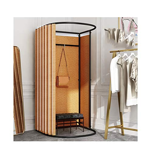 LJIANW Vestuario Portátil, For Probador, Soporte de exhibición de Pista Kits de Cortinas for Puertas con Metal Estante de Marco Sencillo Tienda de Ropa, 7 Colores
