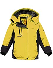 Wantdo Chaquetas de Esquí Impermeable Montaña Abrigo Snowboard para Exteriores Parka de Nieve con Capucha Chaqueta Aislada con Vellón Cálida Invierno para Niñas