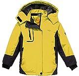 Wantdo Fille Anorak de Ski à Capuche Ski avec Doublure Imperméable Veste de Pluie Parka d'hiver Jaune 14/16