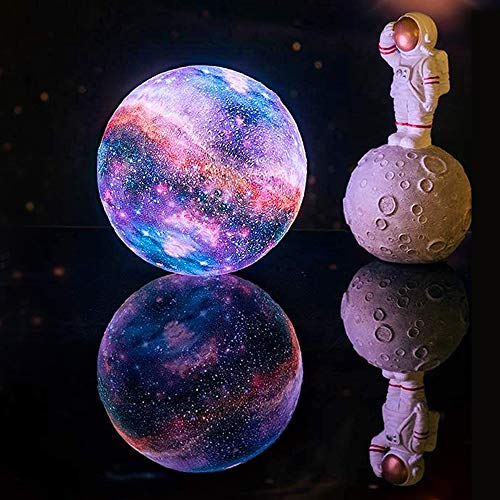 Moon lamp Light Children's Toy Light 16 Color LED 3D Galaxy Light Star and Moon Light Wooden Tower Remote Control Touch Control (14cm + Wooden Stand)