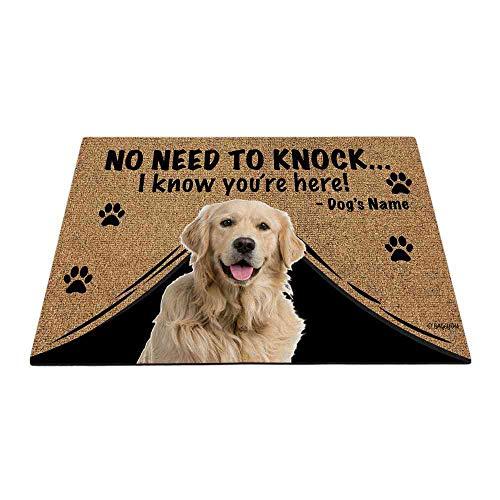 """BAGEYOU Felpudo personalizado con nombre de perro para exteriores con My Love Dog Golden Retriever Welcome Floor Mat Not Need to Knock I Know You're Here 27.5"""" x 17.7"""""""