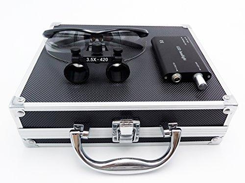APHRODITE 3.5倍ルーペ メガネ式 LEDライト付 拡大鏡 虫眼鏡 眼鏡式 ポータブル 調整可能 ケース付 (ブラック)