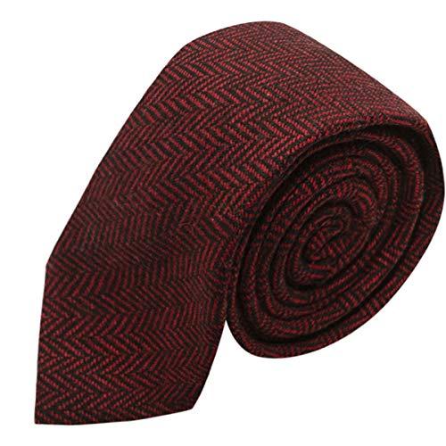 King & Priory Rubinrote & schwarze Fischgrätenmuster-Krawatte aus hochwertigem Gewebe im Fischgrätenmuster