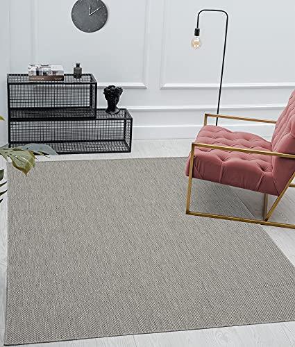 Mia's Lara - Alfombra para Interior y Exterior, Tejido Plano, 200x 280cm, Color Gris