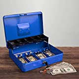 Stalwart Cash Box – Locking Steel Petty Cash Safe with Coin Tray and Spring-Loaded Money Clips for Yard Sale, Market and Concession Stand (Blue)