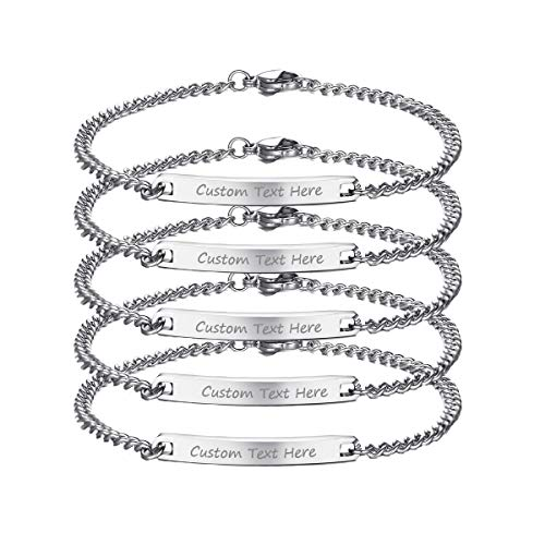 VNOX Customize Friendship Bracelet for 5 Dainty Skinny Bar ID Bracelet for Best Friend,Bridesmaid Gift,7.5