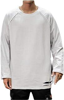 Mogogo Mens Skinny Solid Distressed T-Shirt Tops O-NEC Pullover Sweatshirt