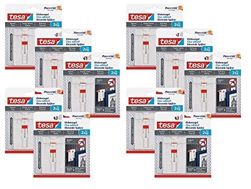 tesa® Verstellbarer Klebenagel für Tapeten und Putz 2 kg (10 Packungen = 20 Klebenägel)