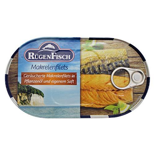 2er Pack Rügen Fisch Makrelen Filets geräuchert in Pflanzenöl (2 x 200 g) Fischbüchse Dosenfisch