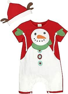 Amosfun natale tutina per bambini manica corta pagliaccetto natalizio tuta in cotone abiti natalizi per neonato