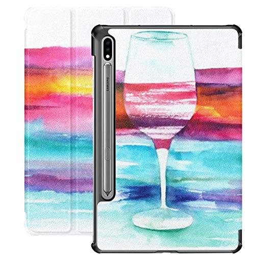 Smart Cover para Samsung Galaxy Tab S7 Plus 2020 Release 12.4 Pulgadas SM-T970 / T975 / T976 con portalápices, Dibujo de Acuarela, Vidrio, Vino Tinto Vibrante