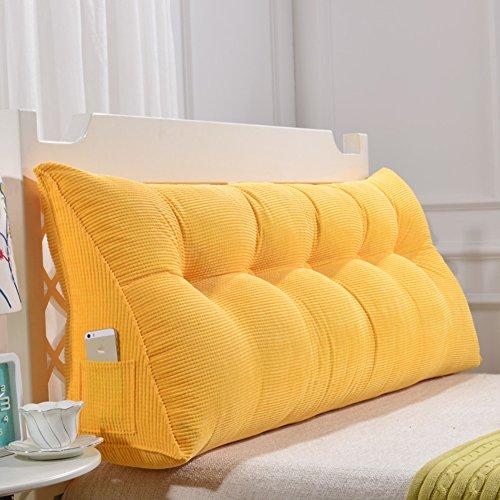 TW1000 Cuña Triangular,posicionamiento Cojín De Respaldo De Apoyo Suave Almohada De Lectura para Sofá Cama De Día Cubierta Lavable-Amarillo 200x50x20cm(79x20x8) ✅