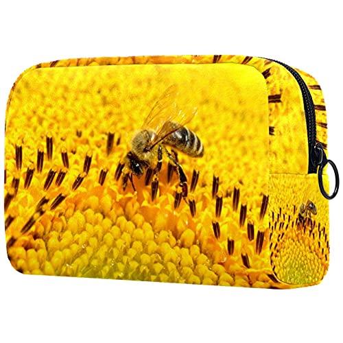 Neceser de viaje, bolsa de viaje impermeable, bolsa de aseo para mujeres y niñas, insectos de abeja amarillo flor 18,5 x 7,5 x 13 cm