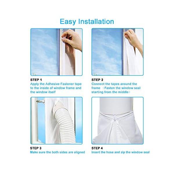 Sello de Ventanas Impermeable con Dual Cremallera TRECI 400CM Aislamiento Ventanas para Aire Acondicionado M/óvil y Secadora Anti-Insectos Anti UV