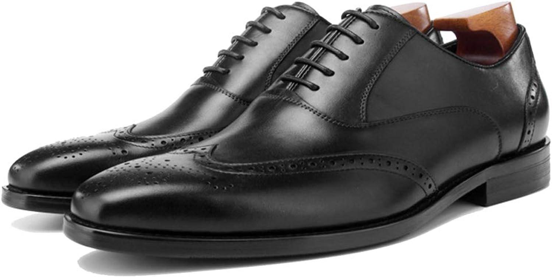 Genuine läder Oxford män Lace Up Brogue Brogue Brogue skor Classic Square Toe Business Formal skor for bröllop Work Party  billig