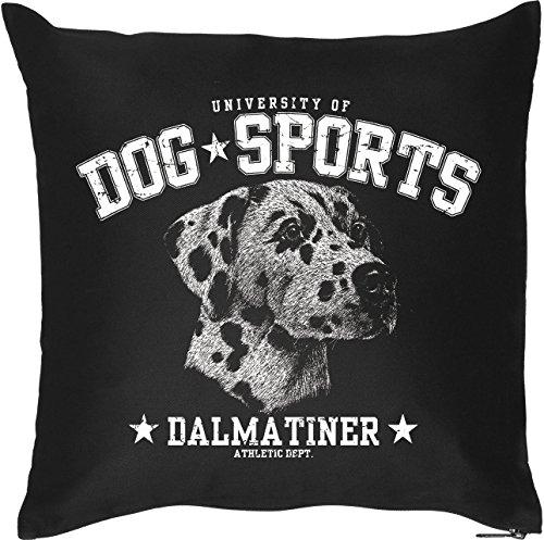 Schöner Hunde Kissenbezug in schwarz: DOG SPORTS - Dalmatiner, für Hundefans, Hundeschulen und fürs Körbchen