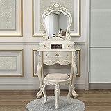 Mini tocador con espejo inteligente, patas de madera maciza, cajón de almacenamiento, tocador de cosméticos, juego de mesa de tocador con taburete acolchado, organizador de maquillaje para el hogar