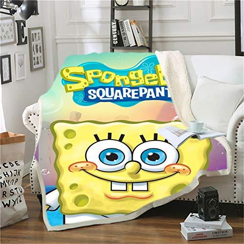 Amacigana Spongebob Decke, Decke aus Polyesterfaser, Decke aus Microfleece, super weich, weich und warm, geeignet für Kinder der Familie (Spongebob2,150 x 200 cm)