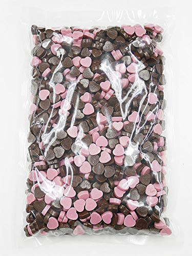 1kg ミニハートチョコミックス 約1,300個[業務用,製菓材料,トッピング素材にも利用できるハート型のミルクチョコとストロベリーチョコのミックス]