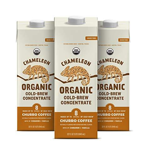 Chameleon Organic Cold Brew Coffee, Churro Multi-serve Concentrate, 100% Arabica, Cinnamon and Vanilla, 3 cartons, 32 Fl Oz