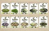 SaatPur Bio Keimsprossen Set (10 Sorten) Alfalfa, Weizen, Sonnenblumen, Daikon Rettich, Rauke, Radies, Mungo, Linsen, Kresse, Brokkoli