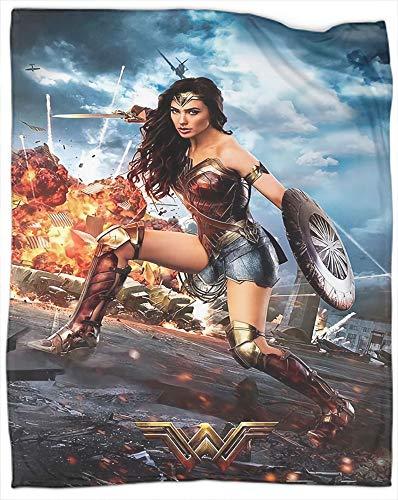 Manta de forro polar suave y mullida, de la película Wonder Woman como colcha, colcha o funda de cama, suave, ligera, cálida y acogedora, tamaño individual de 60 x 80 pulgadas