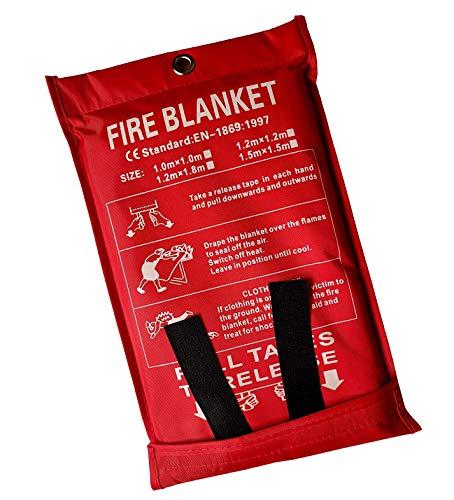 Lonnsaffe Mantas ignífugas Manta ignifuga Manta de Emergencia contra Incendios Manta de Supervivencia Cubierta de Seguridad Ideal para Cocina, Chimenea, Parrilla, automóvil, Camping (1.0x1.0m)