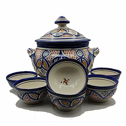 Sopera 6 tazas cerámica terracota marroquí sopa fondue cocina 2505210911