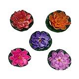Yue Qin 5 Piezas Lirio Agua Artificial Flotante Estanque Flores Flotantes Artificial Lotus para Decoración de Estanques, Acuarios, Peceras