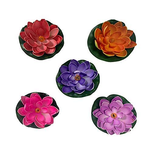 YUE Qin 5 Stücke Künstliche Seerosen Schwimmende Lotusblüte,Lotusblume Dekoration 10cm für Garten Feier Garten Aquariums(5 Farben)