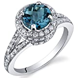 Peora London Blue Topaz Halo Ring Sterling Silver 1.50 Carats Size 8
