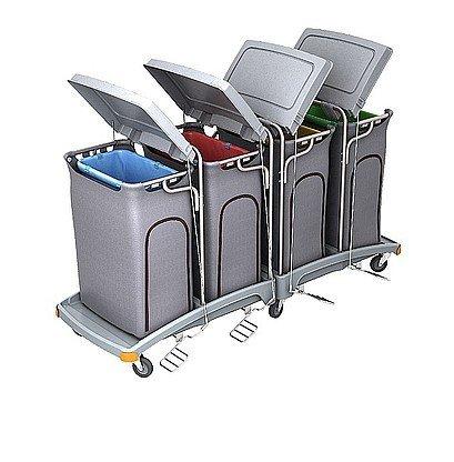 Splast grands chariot des déchets 4x 120l avec pédale et couvercles, couvrant option, Variante:mit Beutelabdeckung