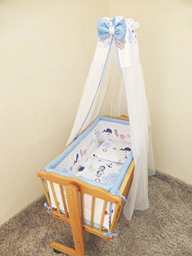 Baby Comfort Parure de lit 7 pièces avec ciel de lit pour berceau balancelle