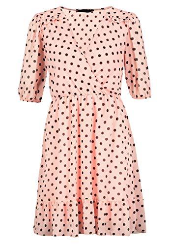 Sublevel Damen Sommer-Kleid gepunktet mit Ploka-Dots Light-Rose S/M