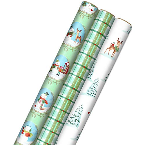 Hallmark Christmas Wrapping Paper with Cut Lines on Reverse (3 Rolls: 120 sq. ft. ttl) Storybook Critters, Snowmen, Green and Blue Plaid