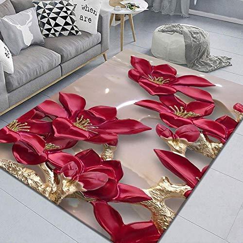 Roter Strauß Teppich Pflegeleicht Vintage, Gehweg Schlafzimmer, Wohnzimmer Teppich, 120X160cm (47X63inch)