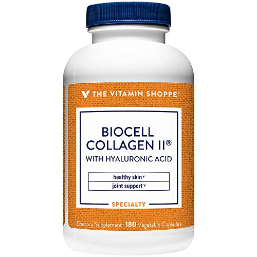 Biocell Collagen II with Hyaluronic Acid 1000mg, Supports Skin and Joint Health, Promotes Joint Comfort and Stimulates Cartilage Producing Cells (180 Vegetable Capsules) by The Vitamin Shoppe