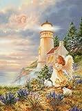 500 piezas rompecabezas accesorios juguetes educativos creativos rompecabezas digital impreso paisaje pintura bebé guardián ángel espíritu faro mural medallón