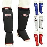 MRX BOXING & FITNESS Muay Thai Shin Guards Kick Boxing Leg & Foot Protector Pad MMA Shin Guard Extra Padding for Men or Women (Black, S/M)