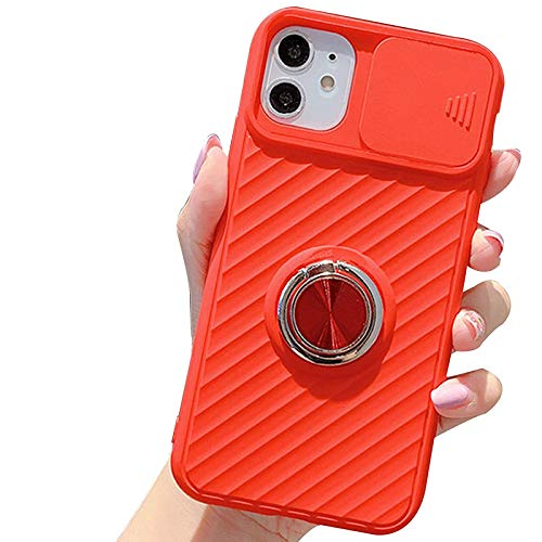 Funda Compatible para Iphone11/11Pro/11Pro MAX Cubierta Deslizante para La Cámara Transparente con Función de Soporte Anti Choque Ultra Delgado TPU Protección Back Cover,Rojo,XR