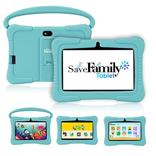 Tablet SaveFamily para niños pedagógica y Divertida. Navegador Seguro Infantil, Doble Control Parental con Dos App, más de 100 Juegos basados en el método Montessori. Totalmente en Castellano (Azul)