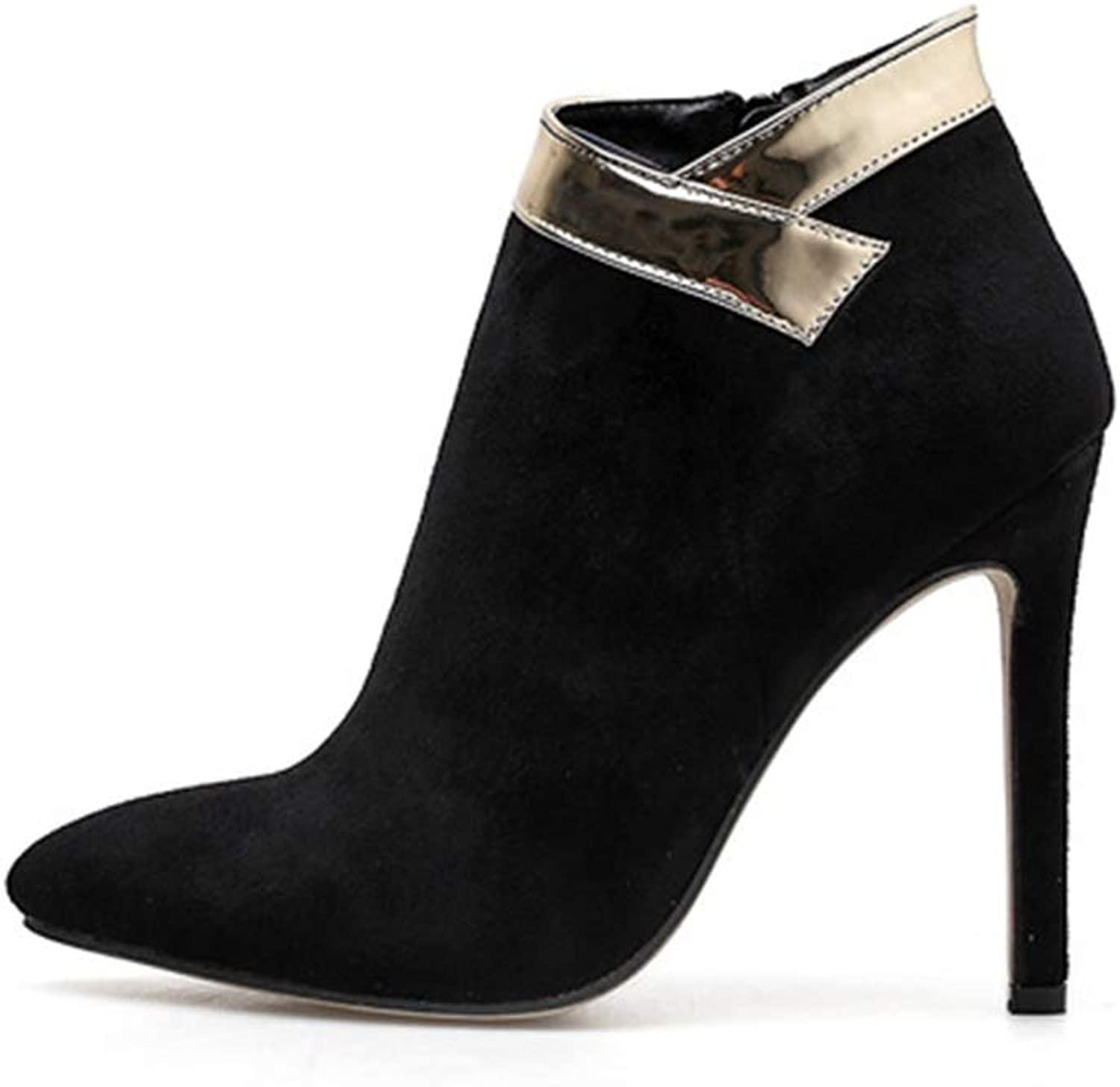 Women's Fashion shoes Suede Fall & Winter Pointed High Stiletto shoes Phnom Penh Bare Boots Wedding Party & Evening (color   Black, Size   37)