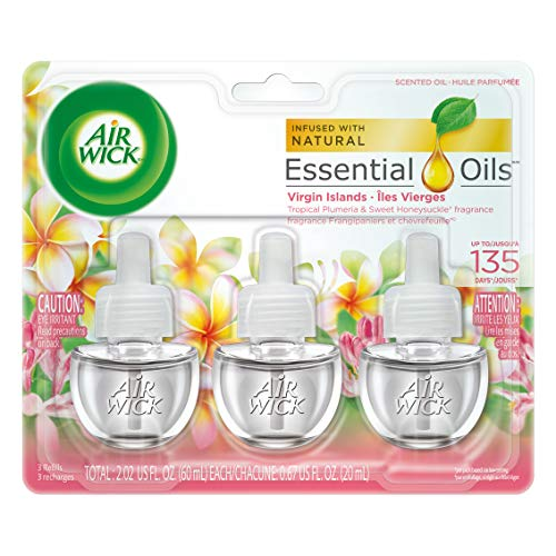 Air Wick plug in Scented Oil 3 Refills, Virgin Islands, (3x0.67oz), Essential Oils, Air Freshener