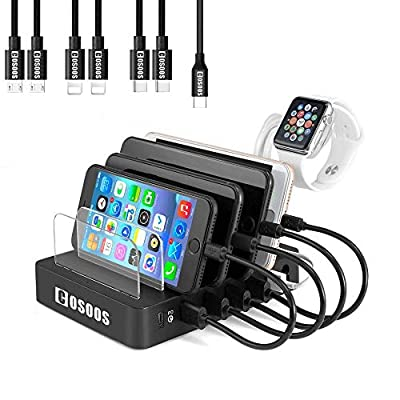 105W Charging Station for iPad Pro,USB-C Laptop,MacBook, iPhone, Kindle, Samsung,Multiple Devices, COSOOS 6-Port USB Charger Station with Power Delivery PD & QC 3.0, 7 USB Cable(4 Type),iWatch Stand from COSOOS