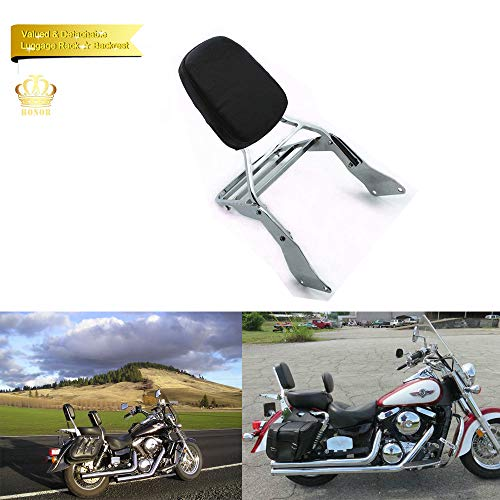 Newest Backrest Sissy Bar + Luggage Rack Leather Pad For Kawasaki Vulcan 1500