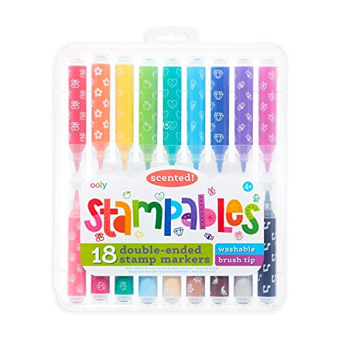 OOLY, Stampables Double Ended Scented Stamp Markers, Highlighter Tool for Kids - Set of 18