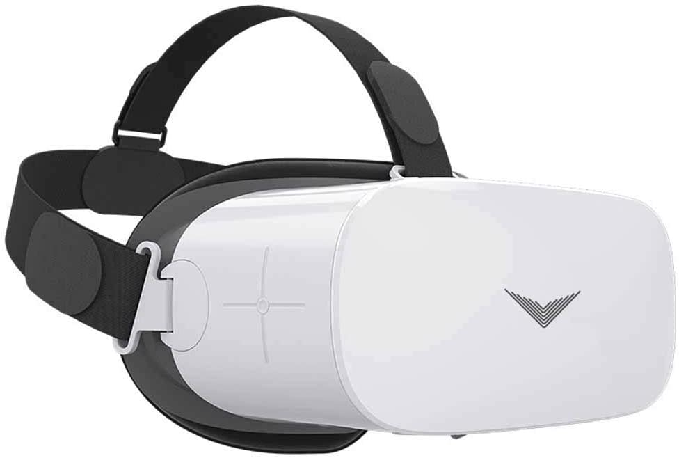 VR Glasses, 5.5In LED Screen 1920 1080 Resolutionvr All-in-One 3D Virtual Reality Glasses for Mobile Games and Movies Augmented,White