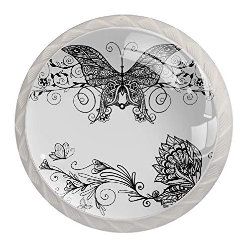 Runde Schubladenknöpfe aus Kristallglas, mit Schrauben, für Küche, Kommode, Schrank, Bad, Kleiderschrank, Schwarz, 4 Stück