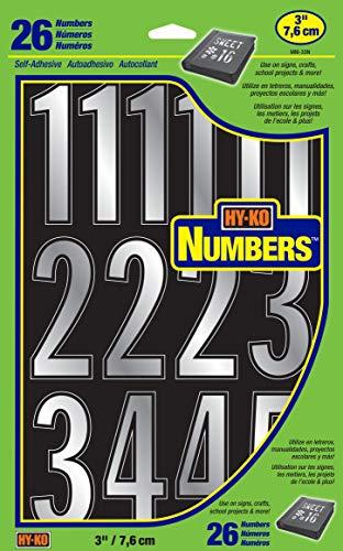 Hy-Ko Products MM-33N Self Adhesive Vinyl Die Cut Numbers, 3' High, Prism Silver, 26