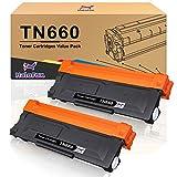 HaloFox Compatible Toner Cartridge Replacement for Brother TN660 TN630 DCP-2560DN MFC-L2707DW MFC-L2700DW HL-L2380DW DCP-L2540DW HL2340DW MFC-L2740DW MFC-L2685DW HL-L2300D Printer (Black, 2-Pack)